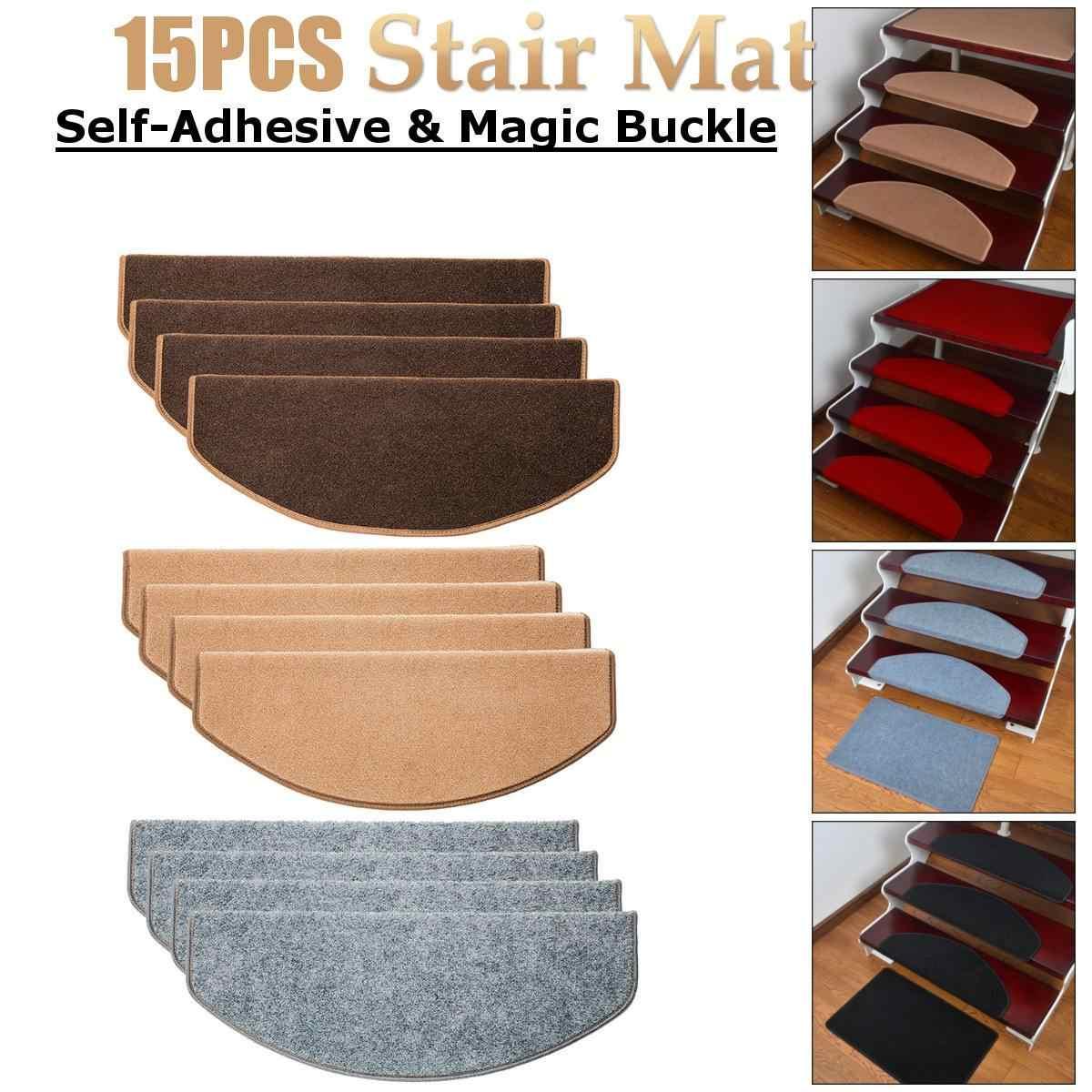 Image of: 15pcs Stair Tread Carpet Mats Self Adhesive Stair Mat Stair Mat Anti Skid Step Rugs Safety Mute Floor Mats Indoor Warm Pad 55×21 Mat Aliexpress