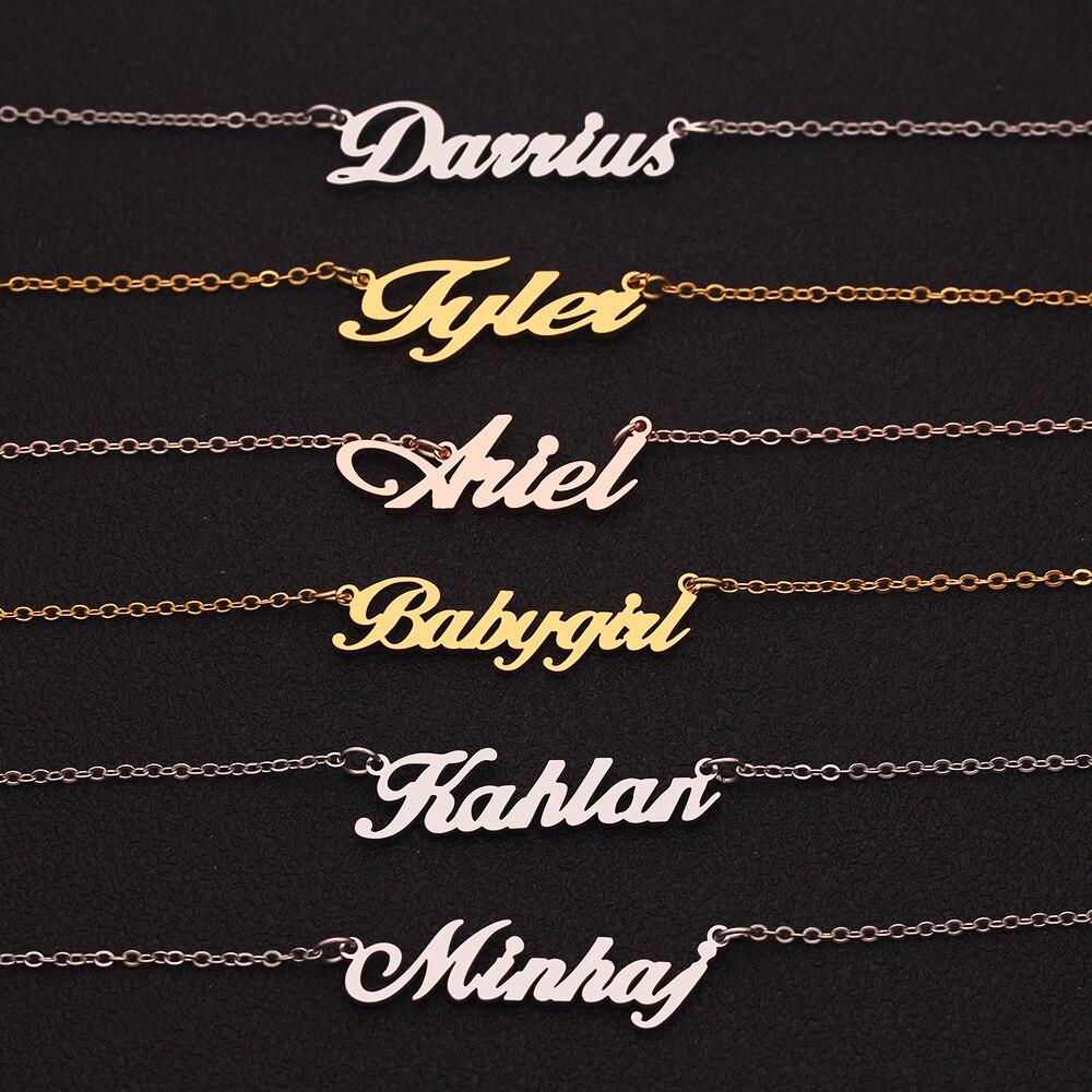 Nome personalizado colar pingente colar para mulheres de aço inoxidável coroa estrela nomes letras colares & pingentes presente para amigos