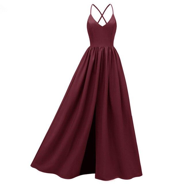 Robe de soirée longue bordeaux bretelles Spaghetti fendu croisé noir marine jamais jolie élégante femmes 2019 robes de soirée