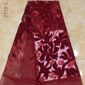 Best Selling Latest African Velvet Lace Fabrics With Sequin High Quality Embroidery French Lace For Evening Dress