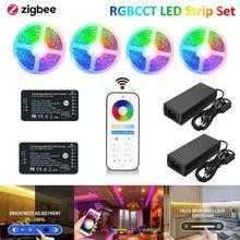 GLEDOPTO Zigbee 3.0 RGBCW Pro Controller+2.4G RF Remote DC12V 5050 RGBCCT LED Strip Light Kit For Hu-e Echo Plus 10m 20m 30m 40m