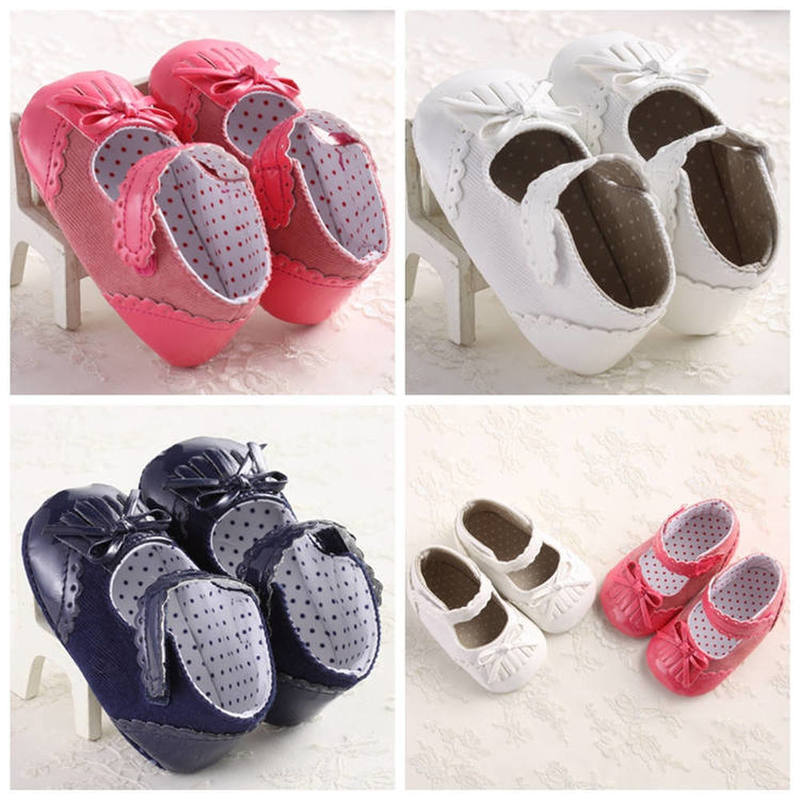 Baby Infant Shoes Girl Crib Shoes Cute Princess Bowknot Fringe Pink Blue White  Newborn Toddler First Walkers Shoes