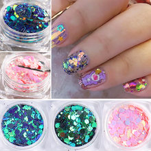 1Box 3D Flakes Fluorescent Nail Irregular Sequins Sparkly Paillette Nail Chunky Glitter Decorations Chameleon Nail Accessory