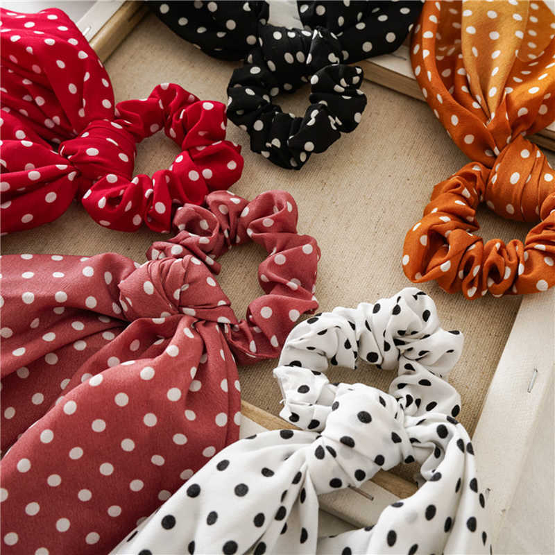 Mode Polka Dot Streamer Bowknot Scrunchie Elastische Haar Bands Frauen Haar Seil Krawatten Band Bands Süße Mädchen Haar Zubehör