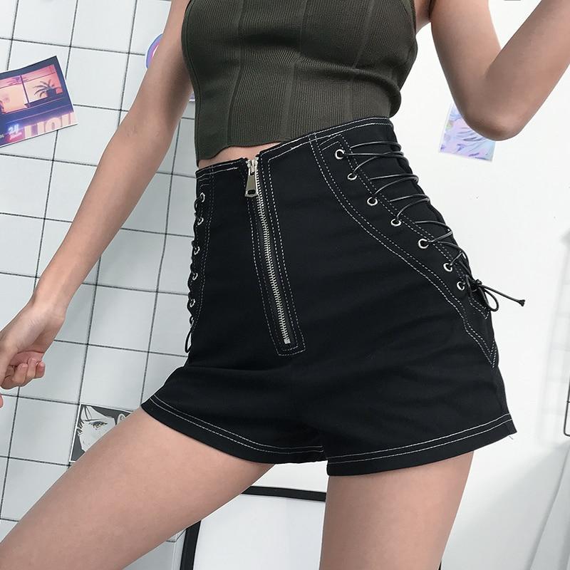 Women Shorts Tie High Waist Shorts Female Hot Casual Black Shorts Ladies Wide Leg Shorts Short Pants Summer Bandage Shorts