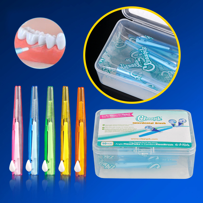 10Pcs/Box Self-contained Straight Orthodontic Interdental Brushes Teeth-Braces Tooth Clearance Brush Oral Cleaning Dental Tools