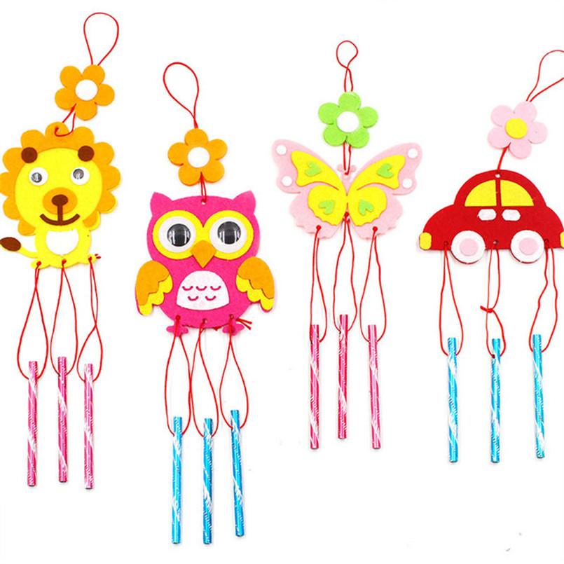 4Pcs/set Children DIY Wind Chimes Handmade Craft Toy Kits Wind Bell Arts Cartoon Hangings Stickers Kids Windbell Toys For Girls