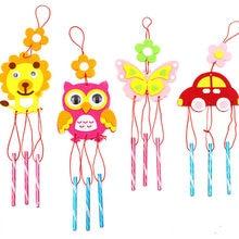 4 adet/takım çocuk DIY rüzgar çanları el yapımı zanaat oyuncak kitleri rüzgar çan sanatlar karikatür asma çıkartmaları çocuk Windbell oyuncaklar kızlar