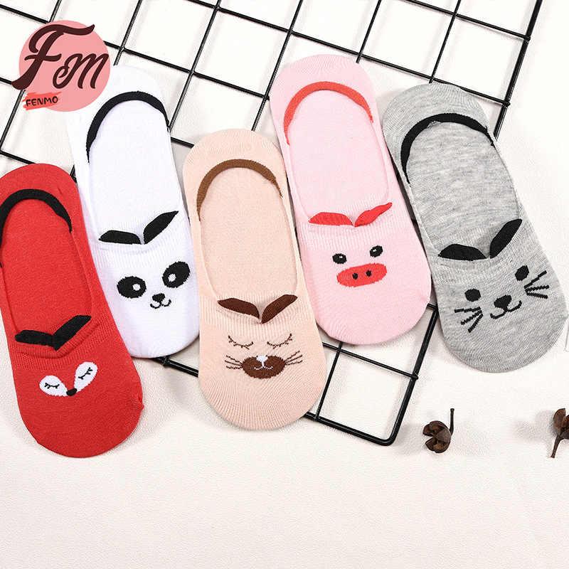 5Pairs sevimli hayvan kadın çorap kore tarzı kızlar için kedi tavşan ayı kaplan komik Low Cut ayak bileği çorap mutlu Sox bahar sonbahar