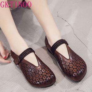 Женские туфли из натуральной кожи GKTINOO, летние дышащие туфли на плоской подошве в стиле ретро на липучке, удобная женская обувь