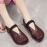 GKTINOO New Genuine Leather Summer Shoes Woman Flats Hollow Breathable Hook&Loop Retro Flat Shoes Comfortable Women Shoes