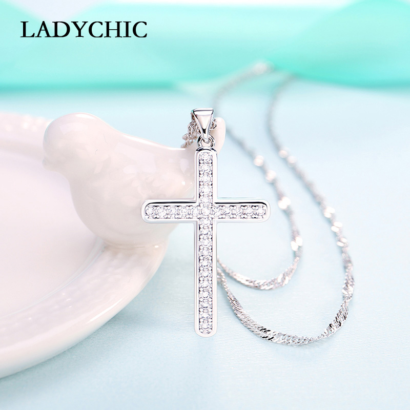 LADYCHIC Classic Silver Color Cross Pendant Necklaces Paved with AAA Zircon Christian Jesus Cross Jewelry Gift Wholesale LN1109