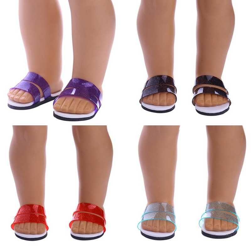 נעלי בית בצבע אחידה עבור Fit 18 אינץ אמריקאי תינוק בובת תינוק בובת אביזרי בובת נעליים