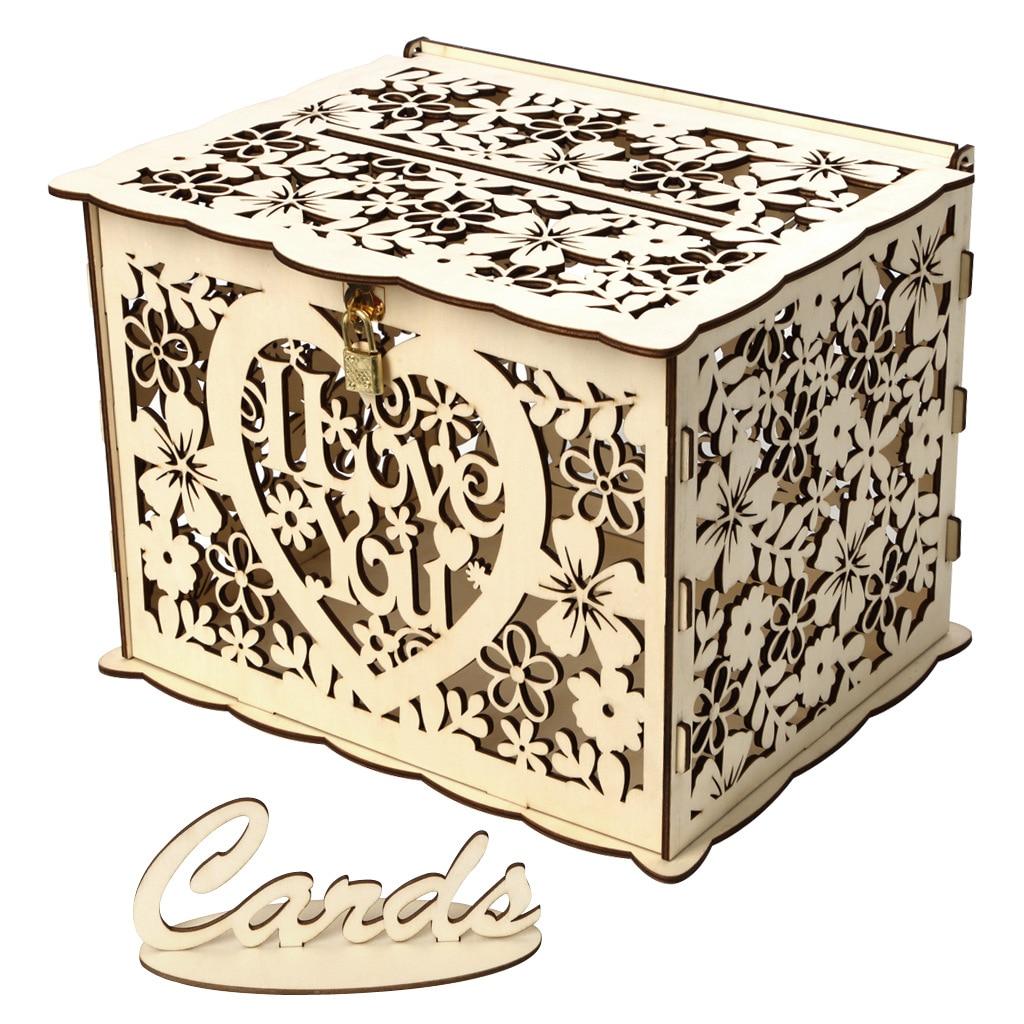 DIY Wedding Card Box Check In Box Creative Wooden Money Box With Lock Wedding Birthday Party Home Decoration