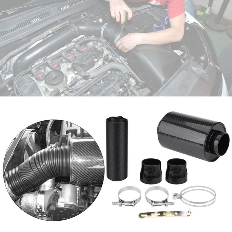 3 Inch 76mm Car Air Intake System Filter Kit Carbon Fiber Cold Feed Induction Kit with Intake Hose