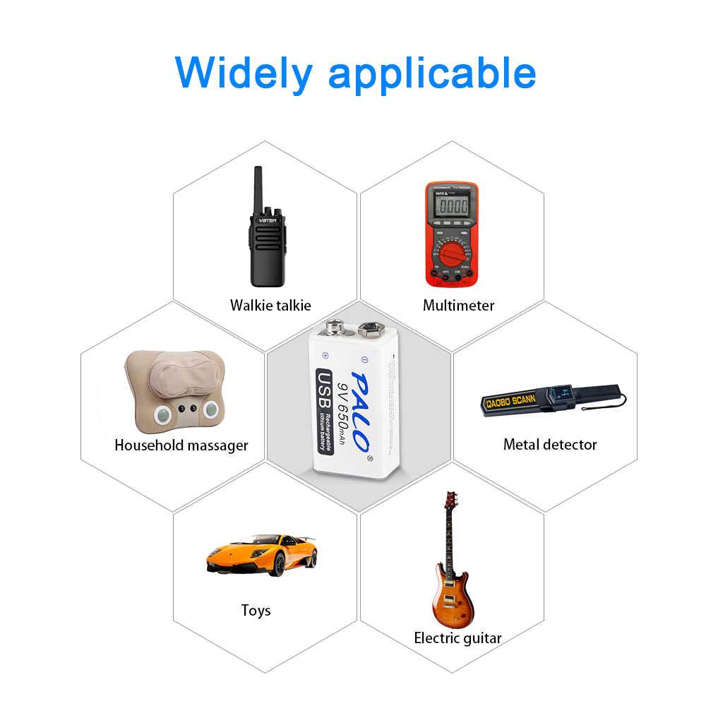 Bateria recarregável de carregamento usb 9v 650 mah li-ion bateria de lítio usb para multímetro microfone brinquedo controle remoto ktv uso