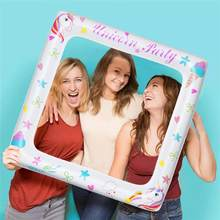 Inflatable Frame Unicorn Frame Photo Booth Props Blow Up Party Props Party Selfie Picture Frame For Baby Shower Party (71x71cm)(China)