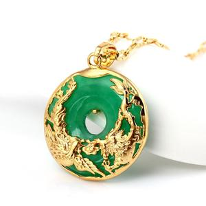 Natural Green Hetian Jade Pendant 925 Silver dragon phoenix Necklace Chinese Jadeite Amulet Fashion Charm Jewelry Gifts