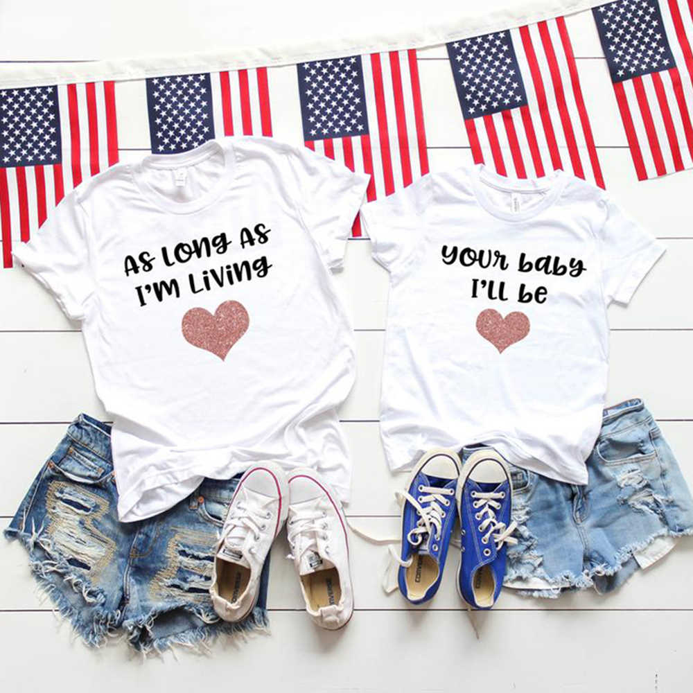 CYSINCOS Family Look Matching Clothes Mommy And Me Tshirt Mother Daughter Son Outfits Women Mom T-shirt Baby Girl Boys T Shirt