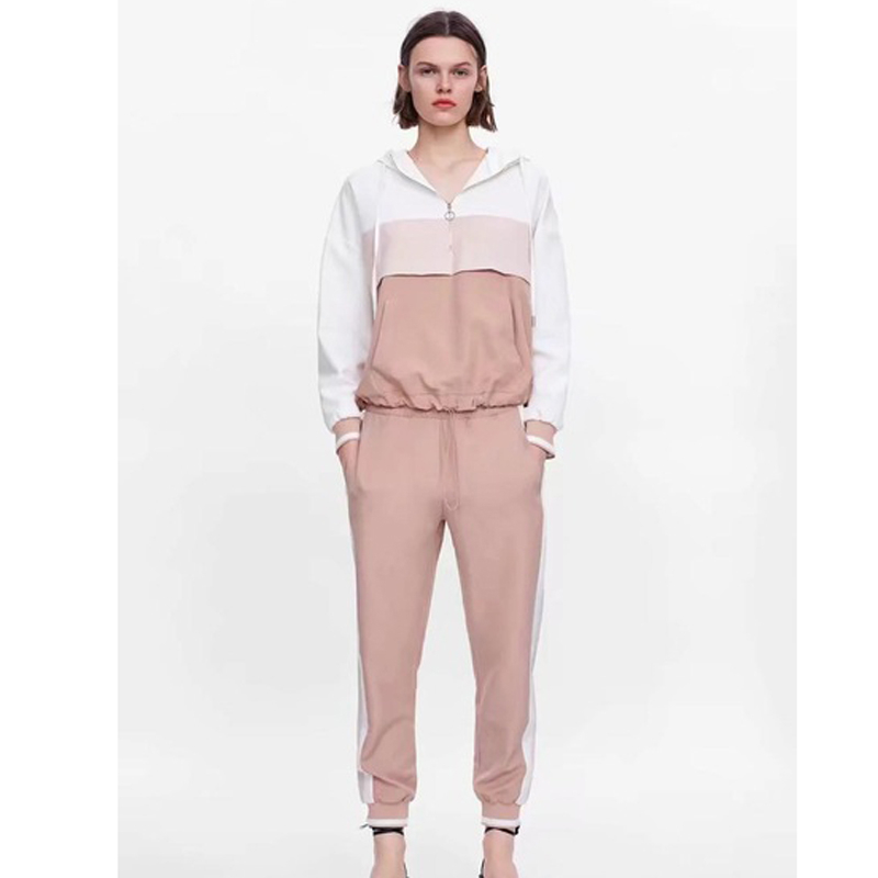 Tracksuit For Women Outfits Withered Two Piece Set Patchwork Different Color Hooded Jacket Pants Conjuntos 2 Pieces Plus Size