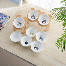 Pet Wooden Tilted Cat Feeders Anti-slip Double Ceramic Bowl Dish with Slope Base Lovely Dog Bowls Bamboo Stand
