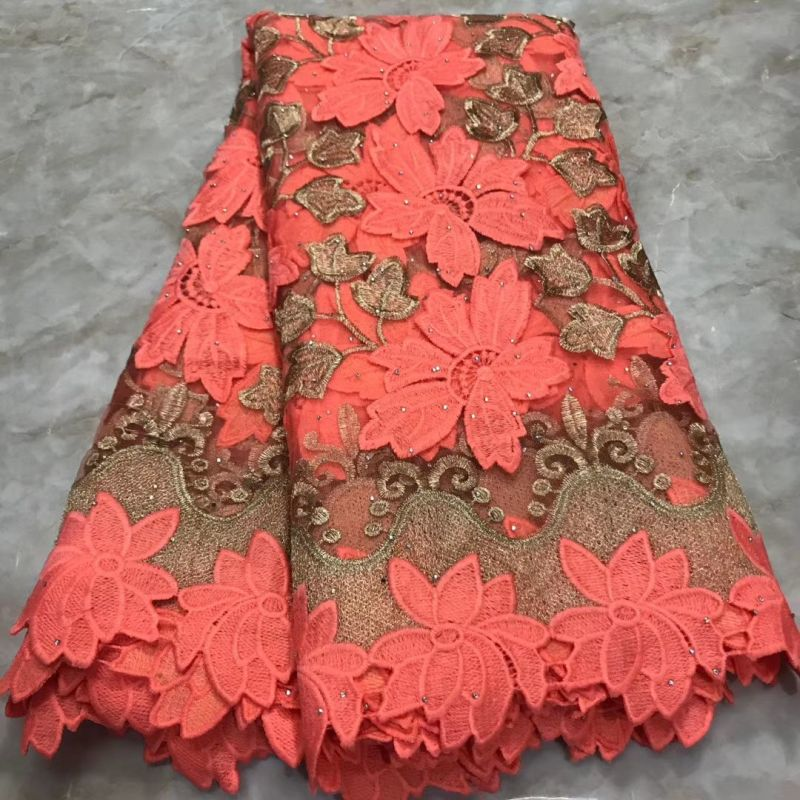 Pink French Net Lace With Guipure Board, High Quality African Lace Fabrics For Dress Wedding, Nigerian Pange Fabric Materials