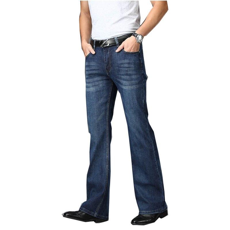 Pantalones vaqueros Acampanados para hombre, Jeans elásticos de cintura alta, acampanados, de diseño clásico