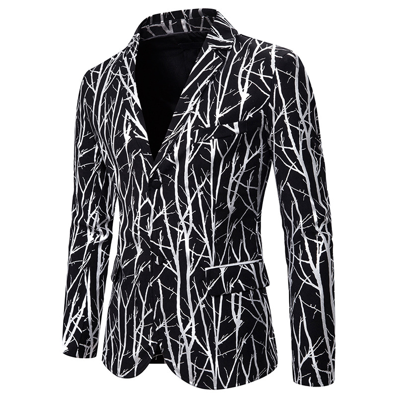 Men Slim Fit Blazer 2020 Shiny Silver Tree Branch Print Suit Jacket DJ Club Stage Singer Clothes Party Wedding Tuxedo Blazer Men