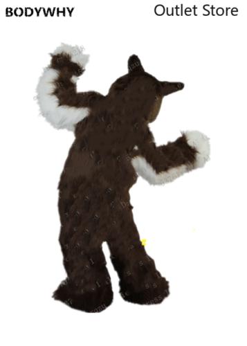 Brown Long Fursuit Husky Fox Dog Mascot Costume Cosplay Dress Unisex Xmas Gift