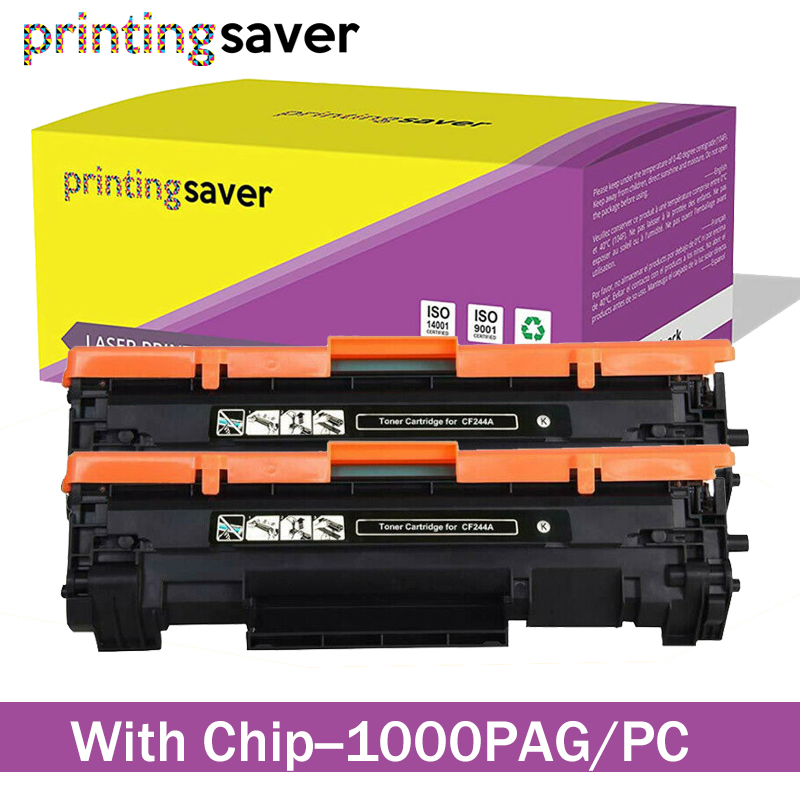 2x <font><b>CF244A</b></font> 244A Toner Cartridge 44A Replace for HP LaserJet Pro MFP M15a M15w M16a M16w M28a M28w M29a M29w with <font><b>Chip</b></font> image