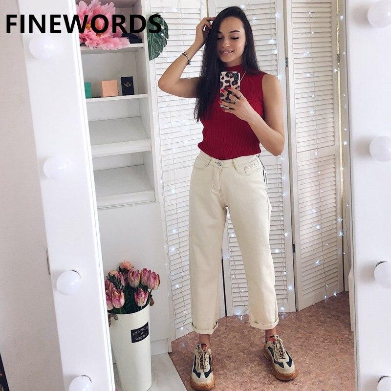 FINEWORDS Autumn Korean Loose Harem Boyfriend Jeans For Women Plus Size Beige White Jeans Vintage Casual Wide Leg Denim Pants