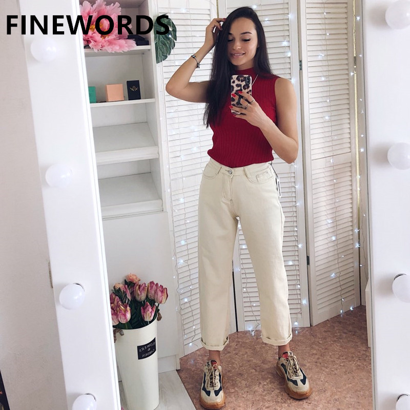 FINEWORDS Autumn Korean Style Loose Harem Boyfriend Jeans For Women Plus Size White Jeans Vintage Casual Wide Leg Denim Pants