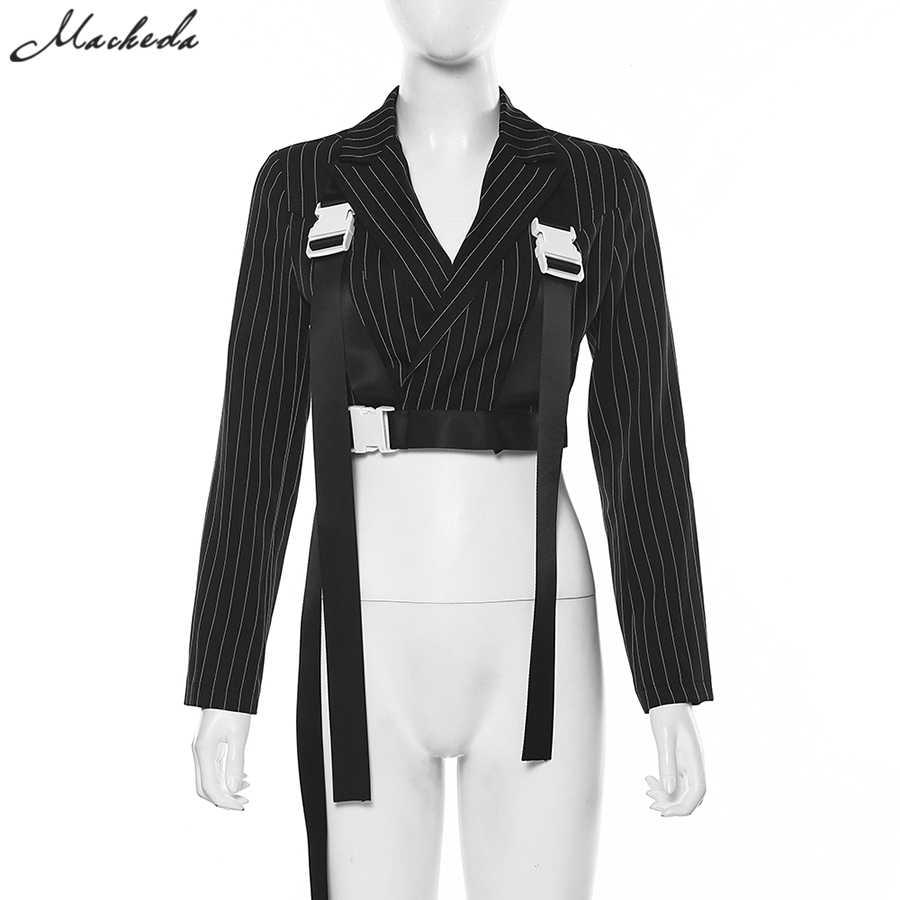 Macheda индивидуальный дизайн с длинными рукавами костюм уникальный пояс Пряжка полосатая куртка элегантные офисные тонкие пальто весна и осень Новинка