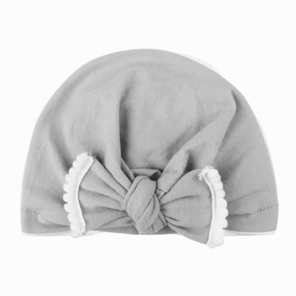 Gorro turbante anudado de algodón para bebé recién nacido Color caramelo contraste plisado fruncido gorro de dormir con volantes