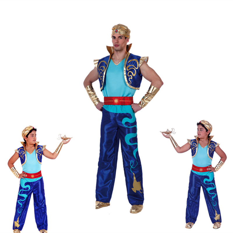 Kids Boys Elf Aladdin Prince Costumes Adult Man Arabian Lamp Jumpsuit Father Carnival Party Halloween Cosplay Outftis CLothes