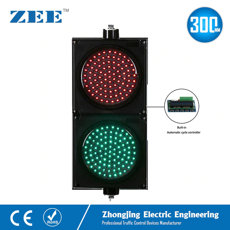 Auto Run Self Control 12inches 300mm LED Red Green Traffic Signal Lights 220V 12Vdc 24Vdc LED Traffic Signs