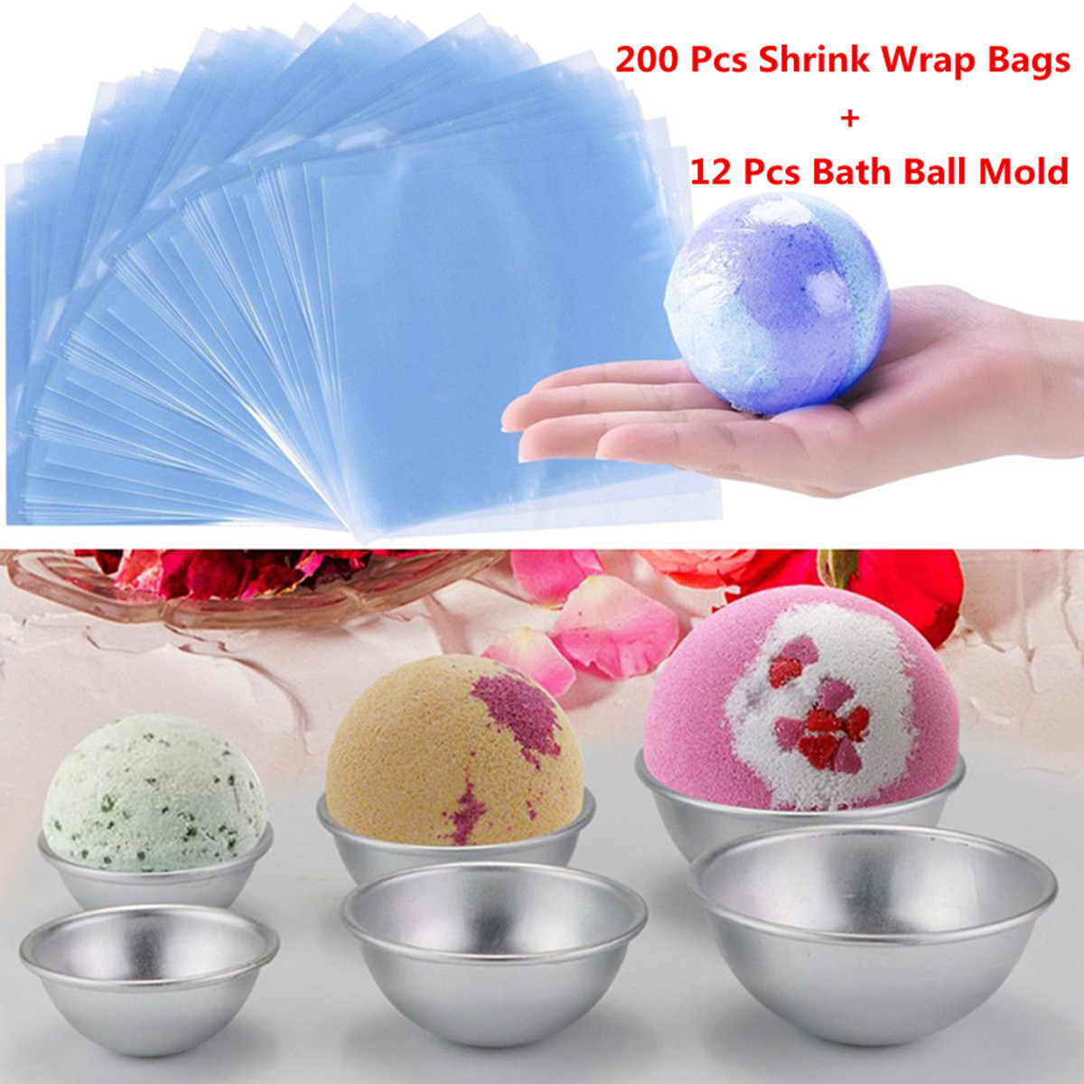 3 Size DIY Metal Bath Bomb Molds + 200 Pcs Heat Shrink Bags Soap 3D Ball Sphere Shaped DIY Bathing Tool Accessories 12 Pcs