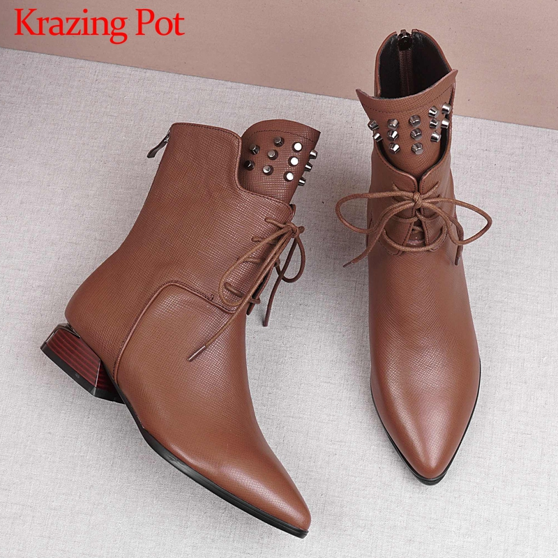 Krazing Pot solid rivets lace up genuine leather pointed toe med  heels mature women leisure fashion cozy warm mid calf boots L11Mid-Calf  Boots