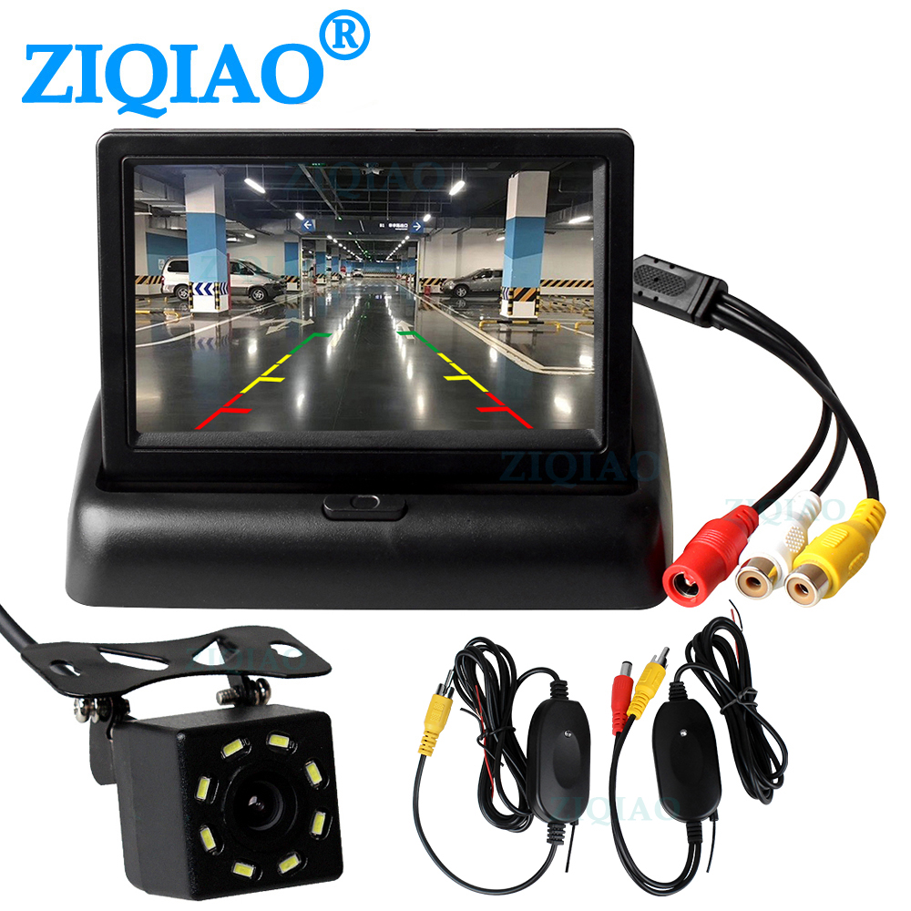 ZIQIAO 4 3inch LCD Car Monitor Rear View Camera Wireless Video Transmitter Receiver Kit for Wireless Parking Reverse Monitor System