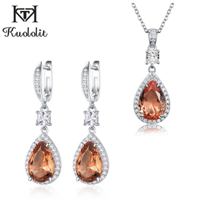 Kuololit Sultanite Gemstone Jewelry Set for Women Solid 925 Sterling Silver Necklace Earrings for Engagement Fine Jewelry set
