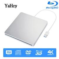 Bluray Burner USB 3.0 External Drive BD RE CD/DVD RW Writer Play 3D 4K Blu ray Disc For Laptops Notebook windows 10