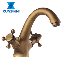 XUNSHINI European Style Retro Faucet Crane Bronze Brushed Sink Faucets Bathroom Swan Vintage Basin Sink Tap Mixer Crane free shipping high grade luxury animal swan style faucets bathroom basin mixer tap noble gorgeous swan sink hydrant promotion