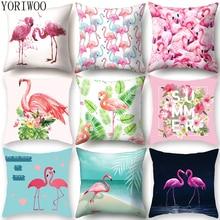 YORIWOO Hawaii Flamingo Decoration Happy Birthday Pillow Case Sofa Tropical Cushion Cover Pillowcase Hawaiian Party Decorations