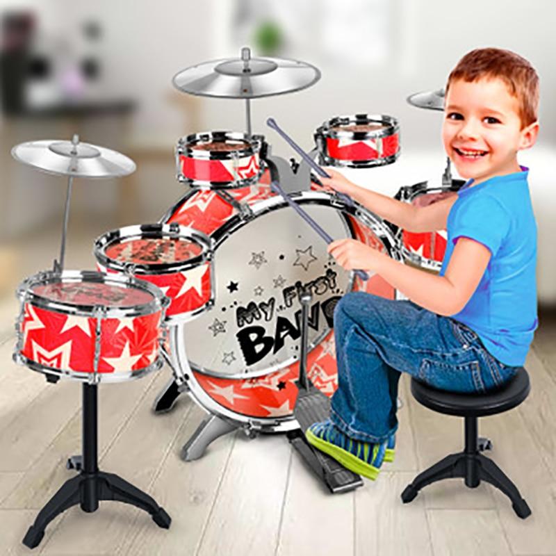 Kit de batterie de Jazz pour enfants Instrument de Percussion musicale jouet avec cymbales tabouret cadeau d'anniversaire de noël livraison directe