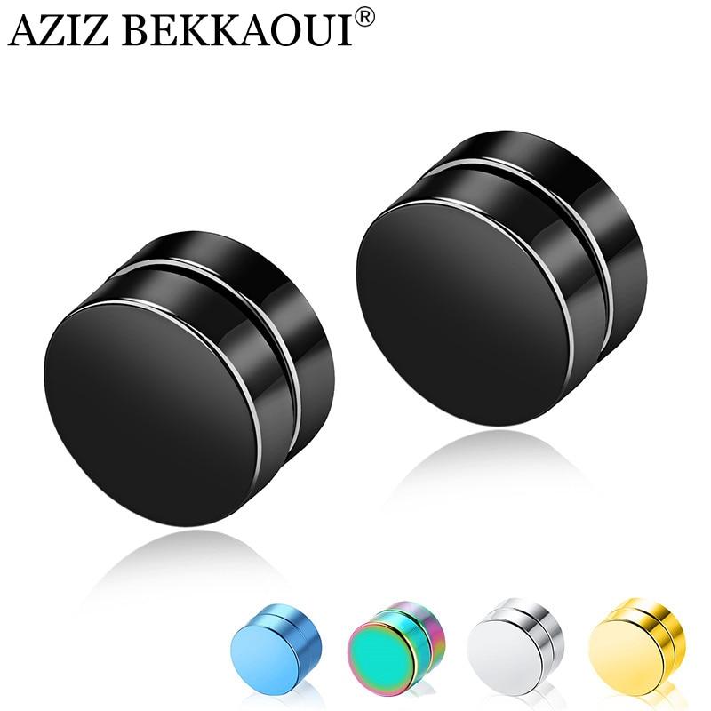AZIZ BEKKAOUI Hot Sale Magnetic Stud Earrings Men Earring Stainless Steel Jewelry Round Male Magnet Multicolor Earrings Gift
