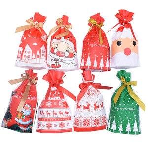 Image 5 - 5/10 個クリスマスキャンディークッキーパックバッグ新年ギフトバッグクリスマスサンタクロースギフトビスケットビニール袋パーティーの装飾のため