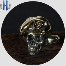 цена на Skull Beret Soldier Ring Ring Jewelry 925 Sterling Silver Copper Mixed Welding Domineering Men's Punk Metal