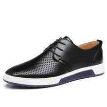 Новинка года; Мужская обувь; кожаные летние дышащие брендовые туфли на плоской подошве; Прямая ; ZY-33