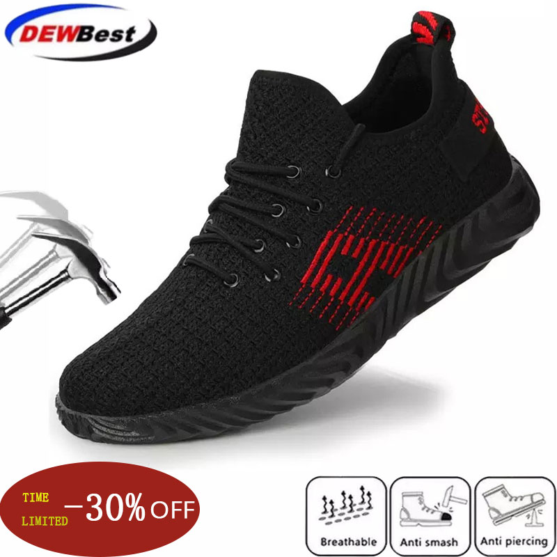 British Fashion Men Large Size Steel Toe Caps Work Safety Shoes Breathable Mesh Worker Shoe Summer Tooling Security Boots Black