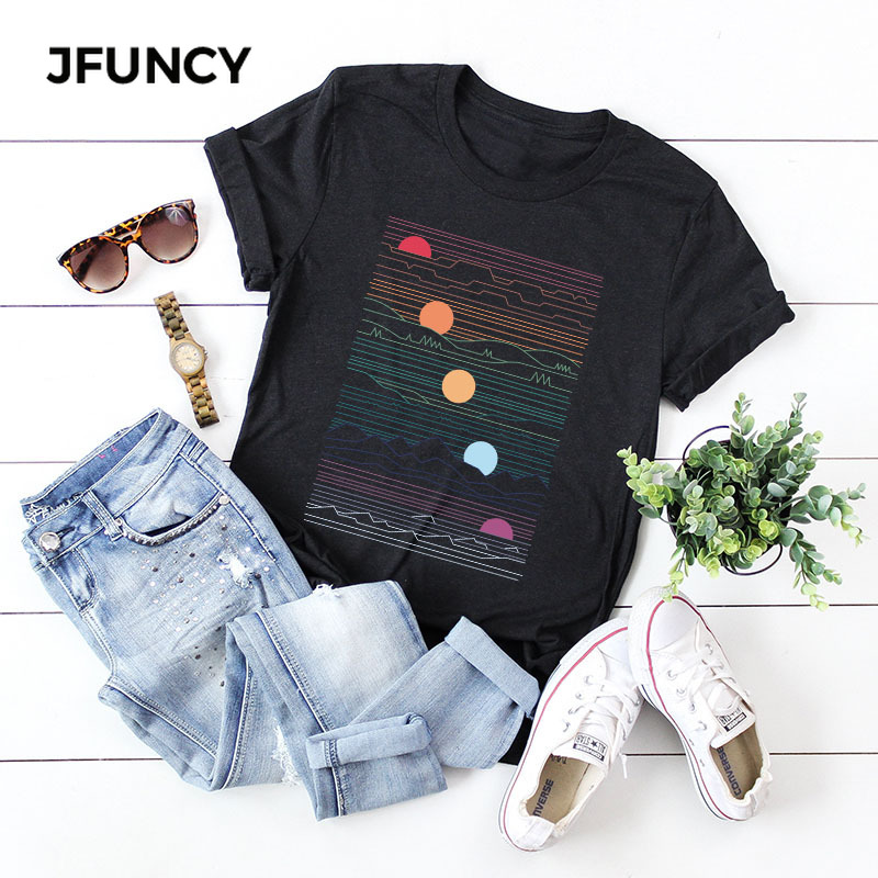 JFUNCY Sunrise Print Plus Size Women Loose Tee Tops 100% Cotton Summer T-Shirt Woman Shirts Fashion Casual Kawaii Mujer Tshirt